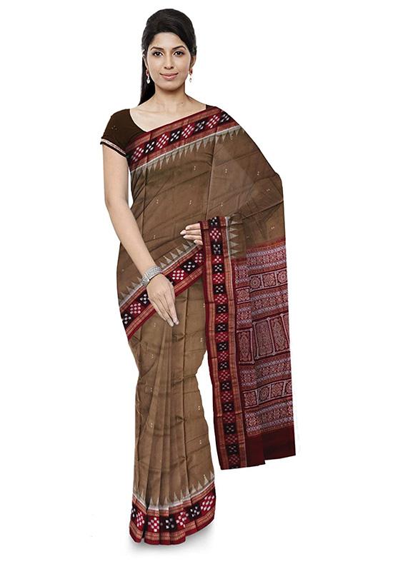Bomkai Handloom Cotton Brown Colour Saree