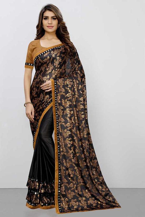 Brown Embellished Fashion Lycra BlendSaree