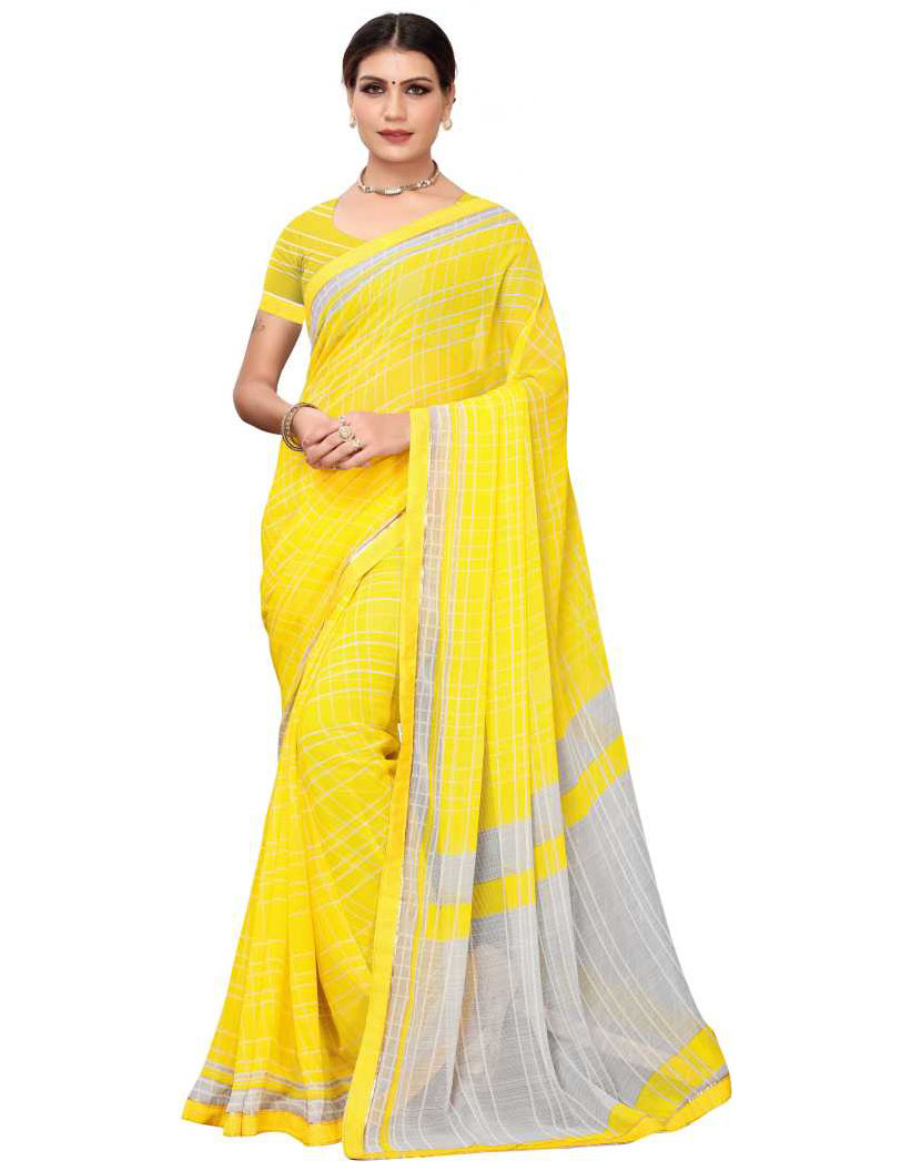 Checkered Bollywood Chiffon Yellow Saree