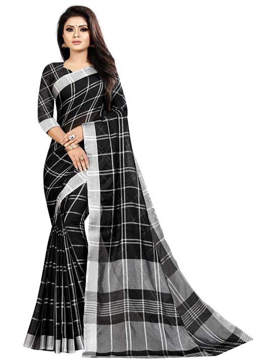 Checkered Fashion Cotton Silk Black Saree