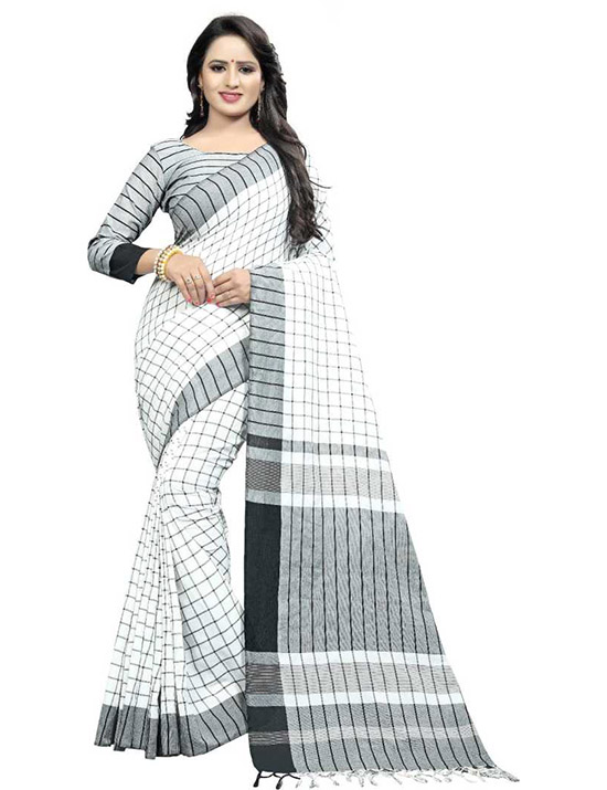Checkered Handloom Cotton Linen Blend White Saree