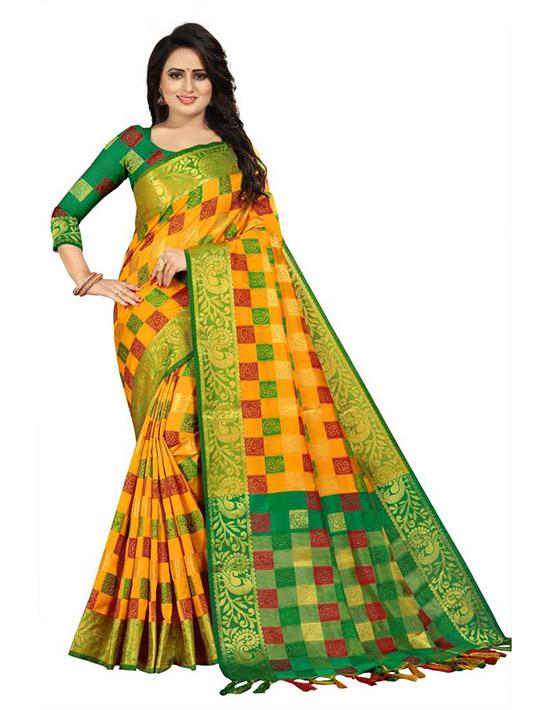 Checkered Kanjivaram Jacquard, Cotton Silk Yellow Saree