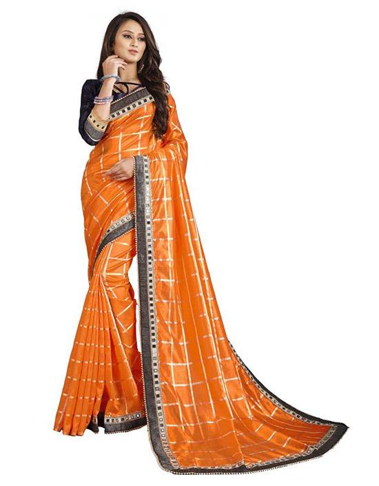 Checkered Mangalagiri Art Silk Saree Orange