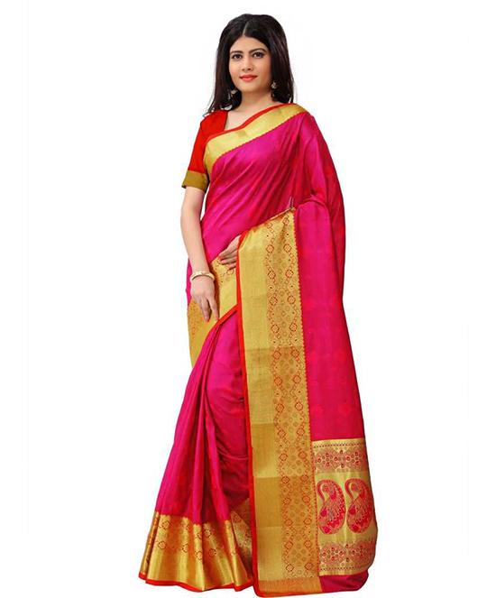 Chinnalapattu Art Silk Saree Pink