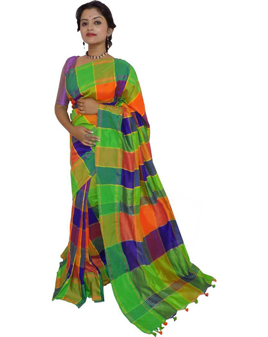 Chinnalapattu Cotton Blend Saree Green