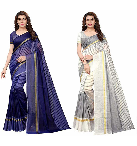 Chinnalapattu Cotton Blend Saree (Pack of 2, Multicolor