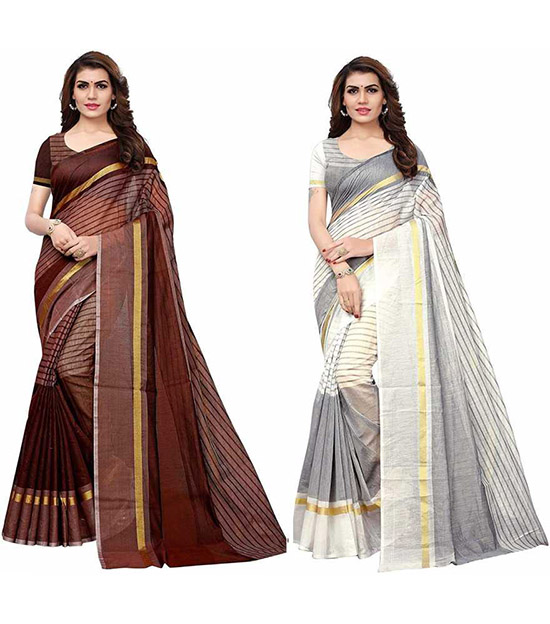 Chinnalapattu Cotton Blend Saree Pack of 2, Multicolor