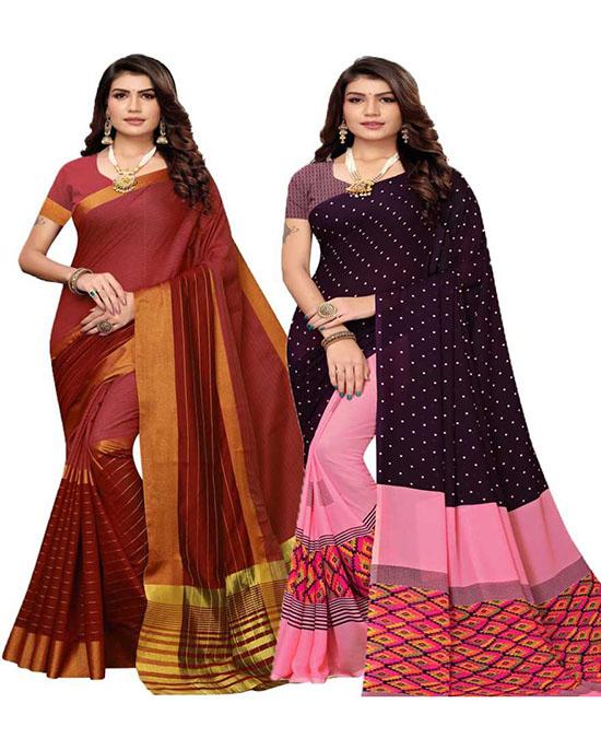Chinnalapattu Georgette, Cotton Silk Saree Pack of 2, Maroon, Black, Pink