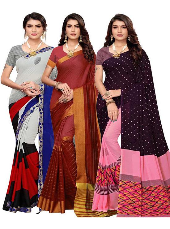 Chinnalapattu Georgette, Cotton Silk Saree Pack of 3, Maroon, Blue, Black, Pink, Grey