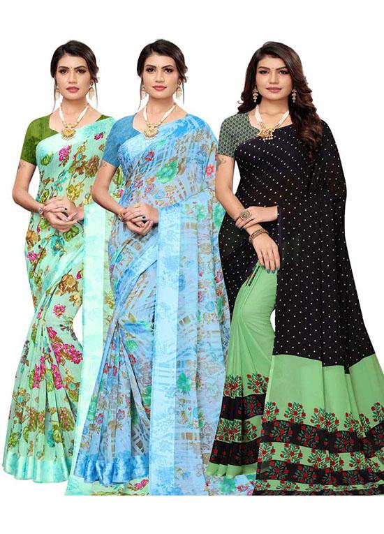 Chinnalapattu Georgette, Pure Silk Saree (Pack of 3, Multicolor