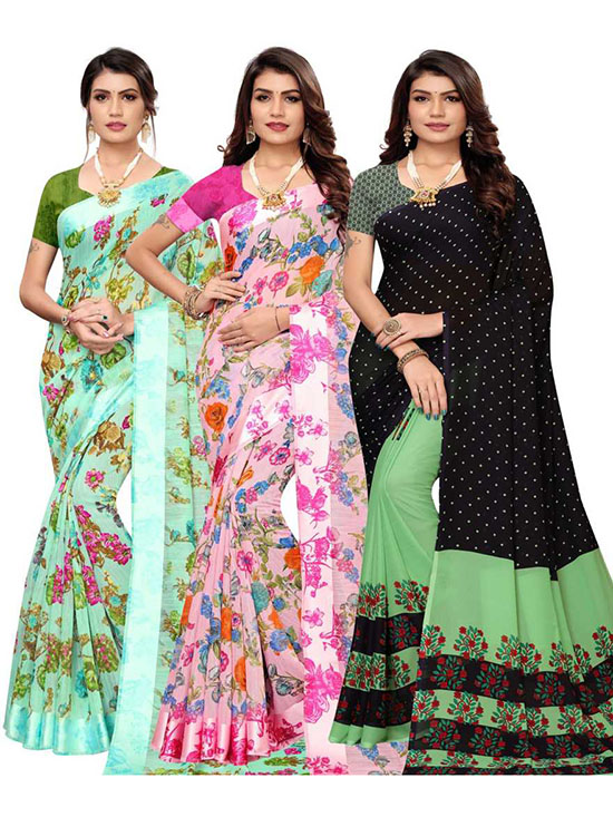 Chinnalapattu Georgette, Pure Silk Saree Pack of 3, Multicolor