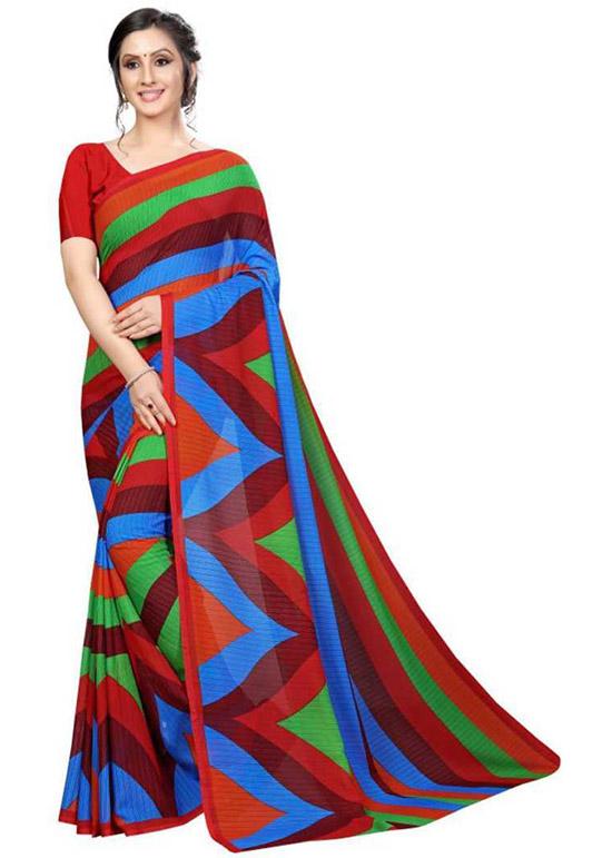 Chinnalapattu Georgette Saree Red, Green, Blue