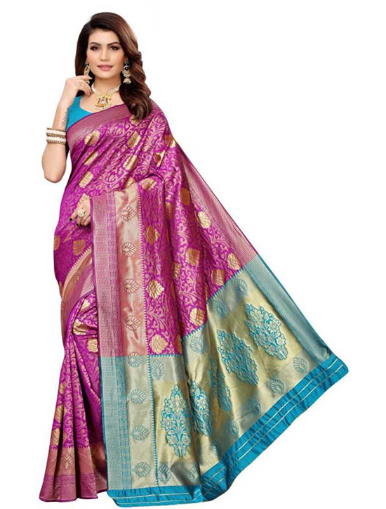 Chinnalapattu Jacquard Saree Purple, Blue
