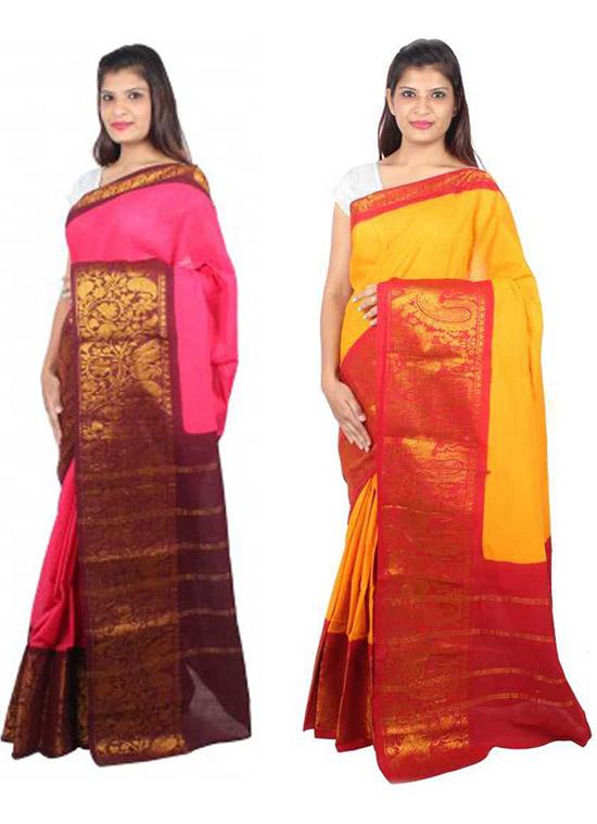 Chinnalapattu Pure Cotton Saree Pack of 2, Pink, Yellow