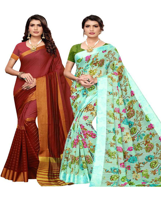Chinnalapattu Pure Silk, Cotton Silk Saree Pack of 2, Blue, Maroon