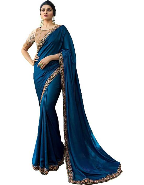 Chinnalapattu Silk Blend Saree (Blue
