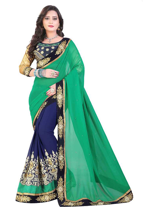 Coimbatore Cotton Blend, Poly Georgette Saree Green