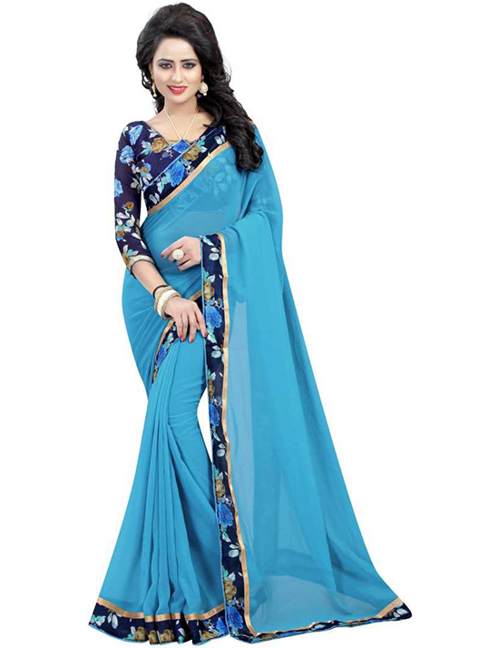 Coimbatore Cotton Blend, Poly Georgette Saree
