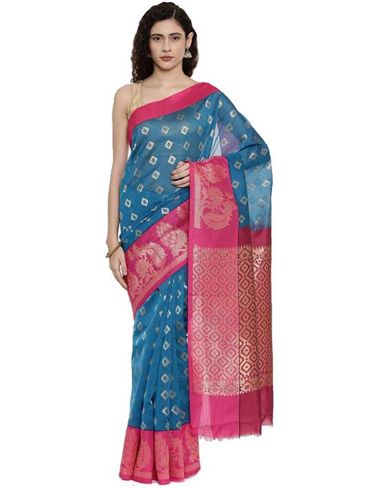 Coimbatore Cotton Blend Saree Blue