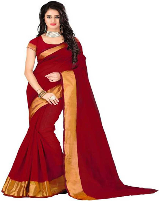 Coimbatore Cotton Blend Saree Red