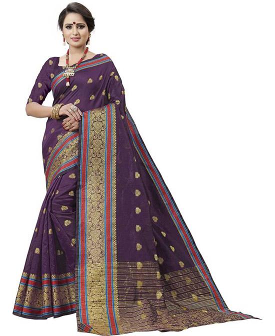 Coimbatore Cotton Silk Saree Purple