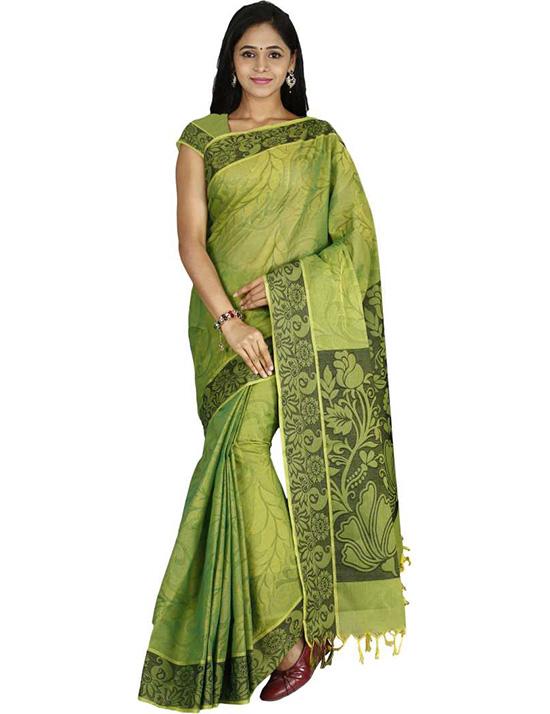 Coimbatore Handloom Cotton Blend Saree (Green
