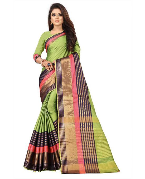 Coimbatore Poly Silk, Cotton Silk SareeLight Green