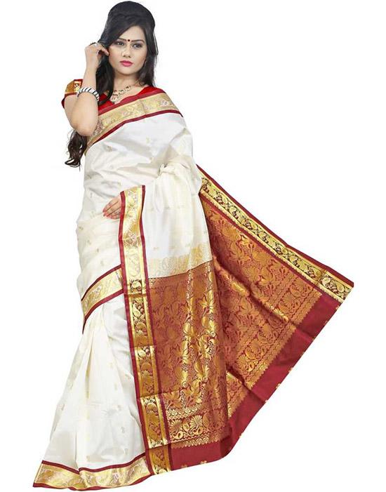 Coimbatore Poly Silk Saree Red, White