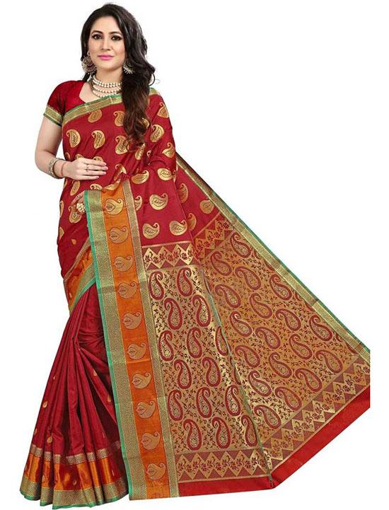 Coimbatore Poly Silk Saree Red