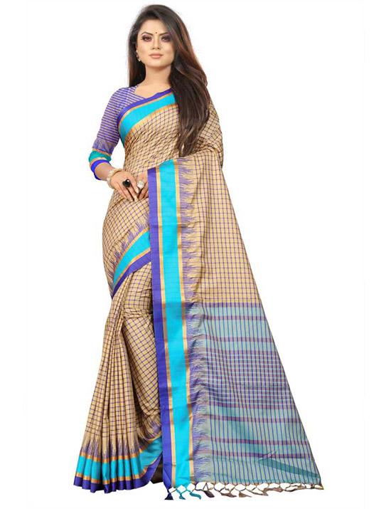 Coimbatore Pure Silk, Cotton Silk Saree Multicolor, Light Blue