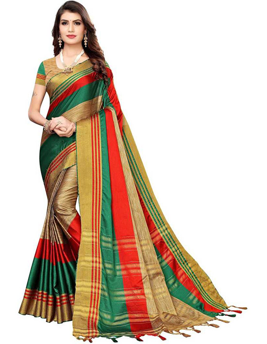 Coimbatore Silk Blend, Cotton Silk Saree Red, Green
