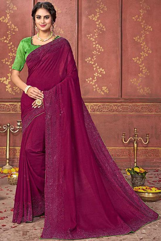 Coimbatore Silk Blend Saree Magenta