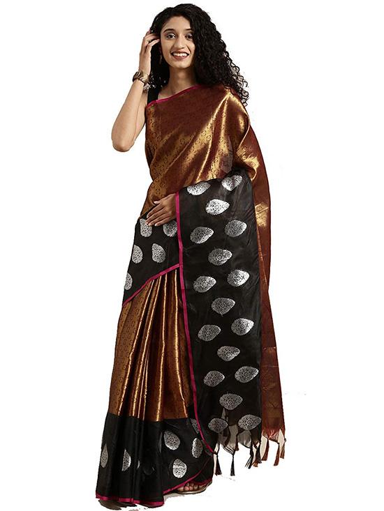 Copper Colour Kora Muslin Silk Saree