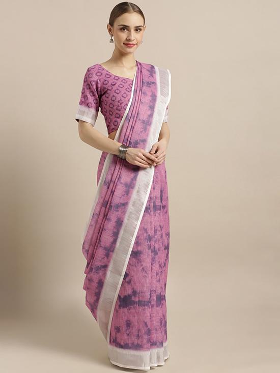 Cotton Blend Printed Lavender & Navy Blue Saree
