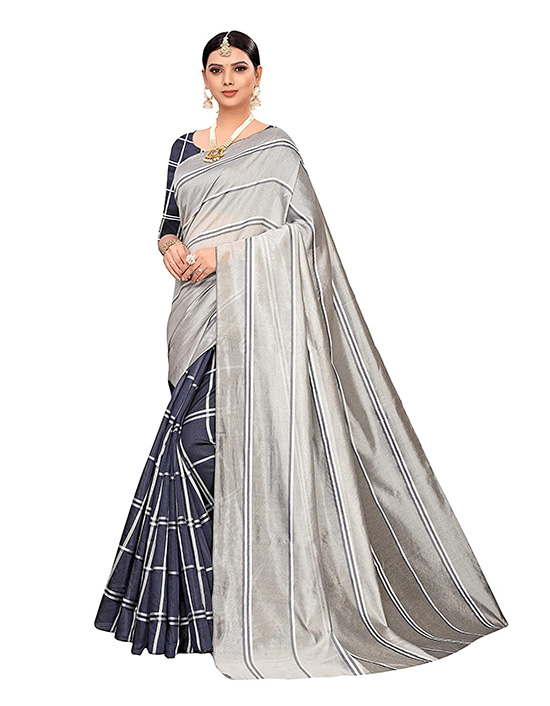 Cotton Silk Blend Lining Silver Saree With Blouse Piece