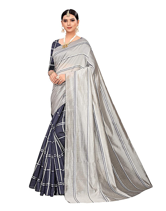 Cotton Silk Printed Silver Saree With Blouse Piece