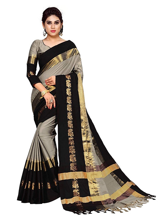 Cotton Silk Silver Saree With Blouse Piece
