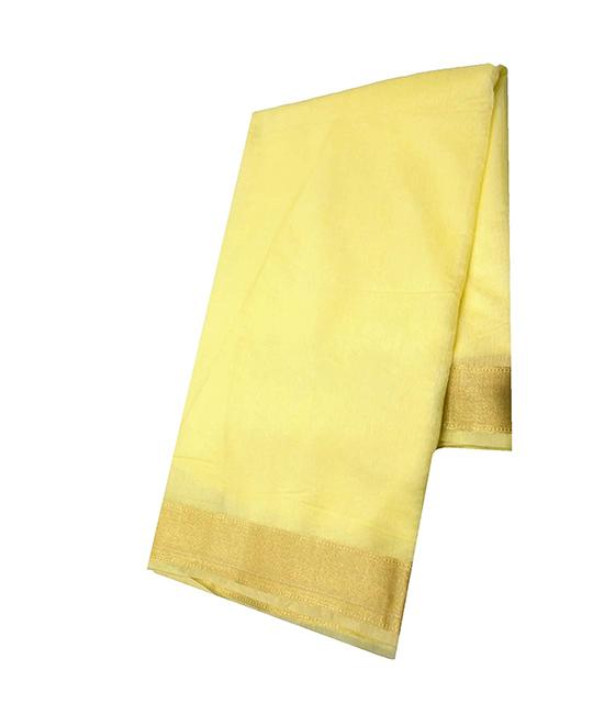 Cream Kora Muslin Saree for Women
