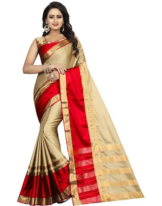Dharmavaram Cotton Silk Beige Colour Saree