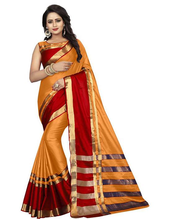 Dharmavaram Cotton SilkMustardSaree