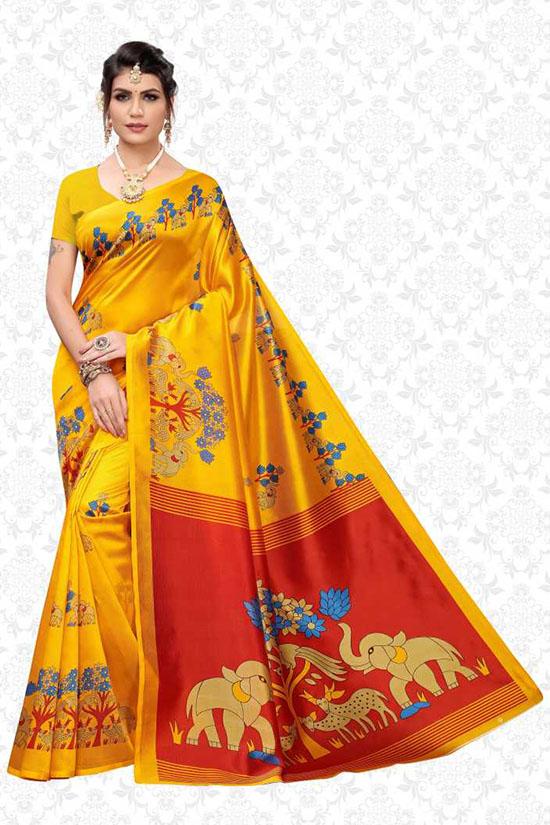 Digital Print Mysore Art Silk Yellow Saree