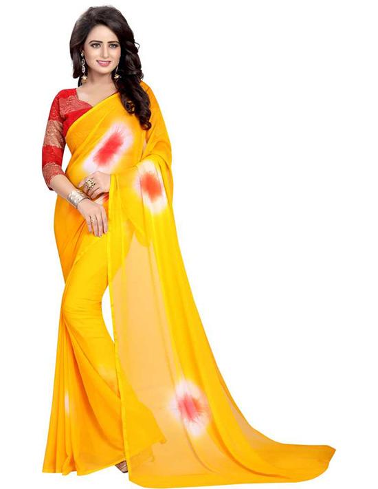 Dyed Daily Wear Chiffon Yellow Saree