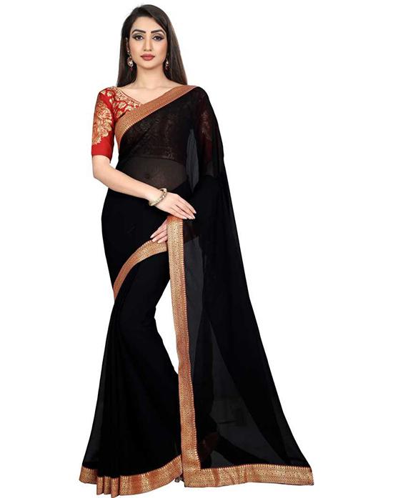 Embellished Bollywood Chiffon Black Saree
