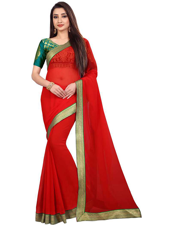 Embellished Bollywood Chiffon Red Saree