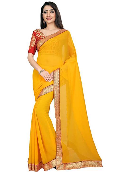 Embellished Bollywood Chiffon Yellow Saree