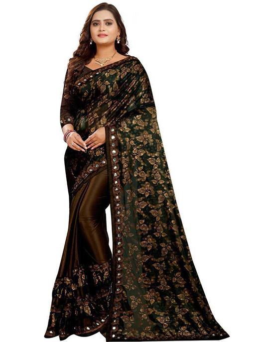Embellished Bollywood Silk Blend Brown Saree