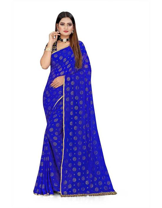 Embellished Daily Wear Chiffon Blue Saree