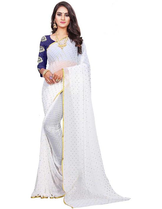 Embellished Fashion Art Silk, Chiffon White Saree
