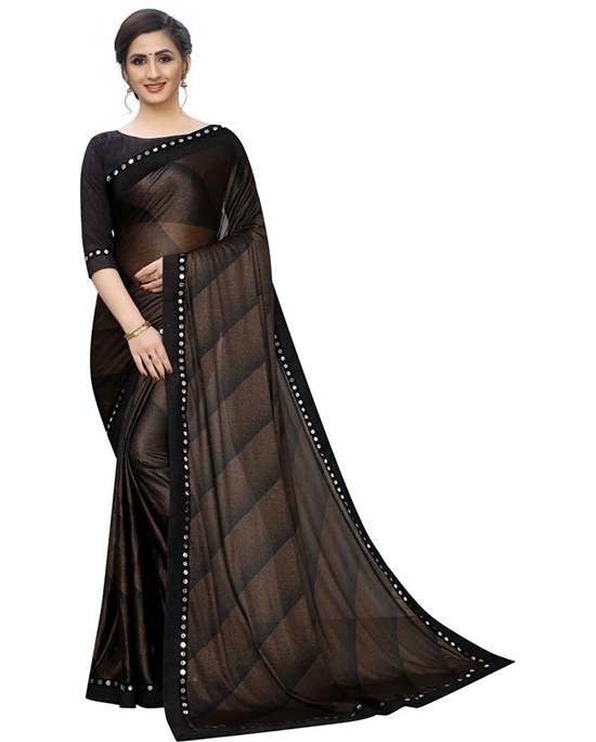 Embellished Fashion Lycra Blend Brown Saree