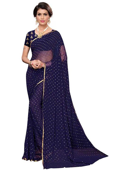 Embellished Fashion Satin Blend, Silk Blend Navy Blue Saree